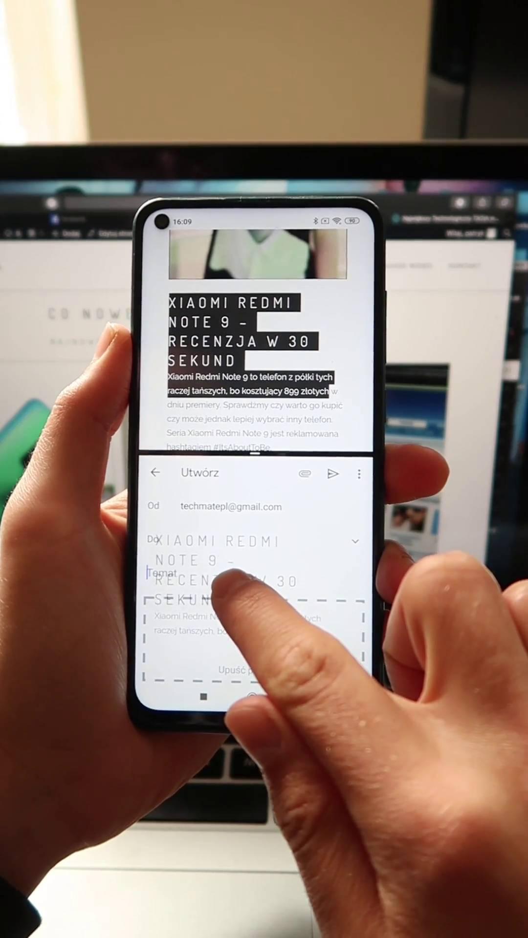 Podzielony ekran na telefonie