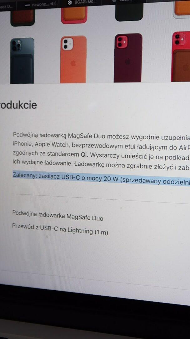 magSafe duo brak ładowarki