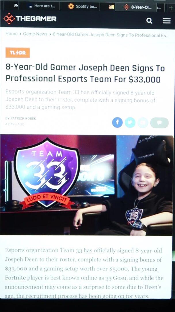8-latek podpisał kontakt e-sportowy na kwotę $33,000