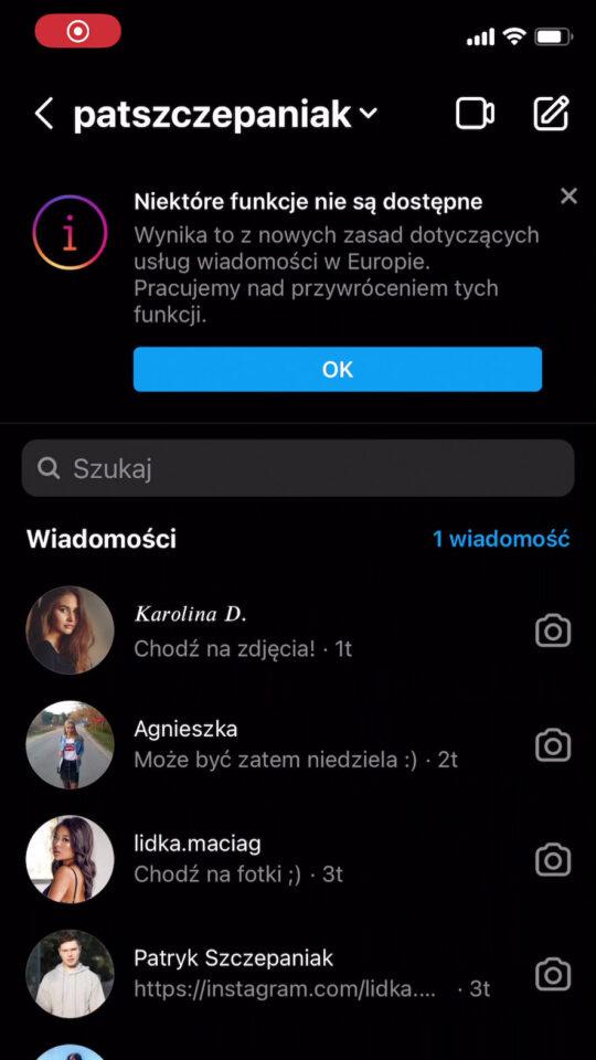 Messenger Niektóre funkcje nie są dostępne