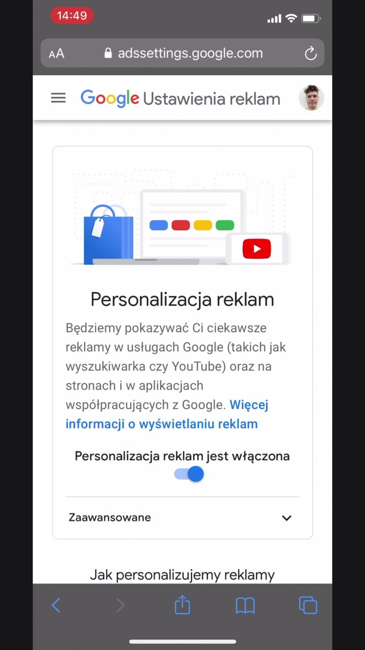 personalizacja reklam google jak wyłączyć