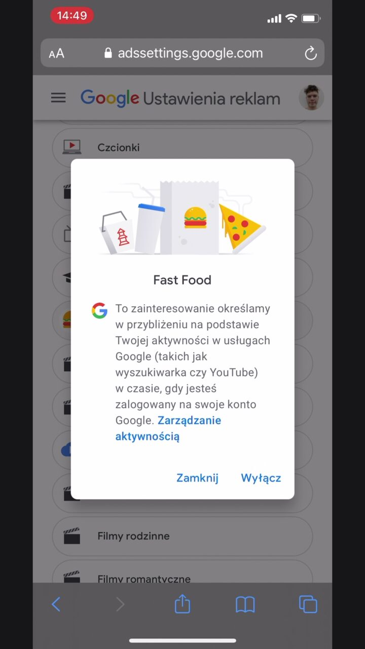 google reklamy zainteresowania