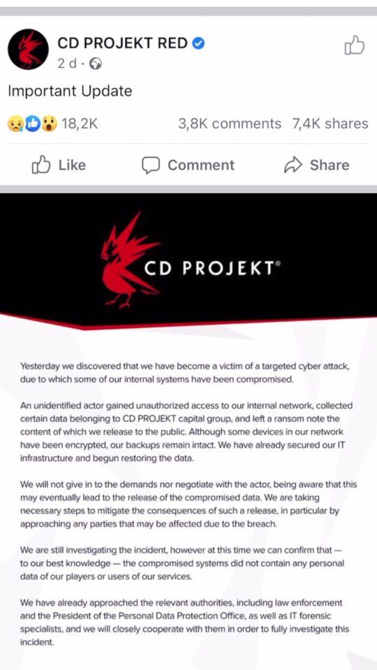 CD Projekt RED zhakowane