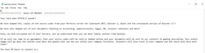 cd projekt red wiadomość od hakerów