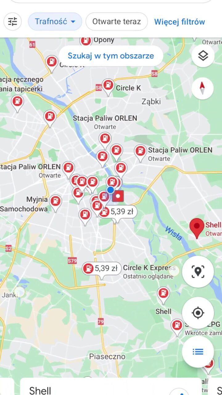 Google maps ceny paliwa