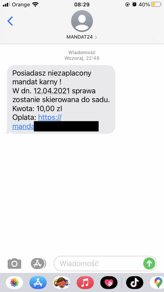 Oszustwo SMS mandat