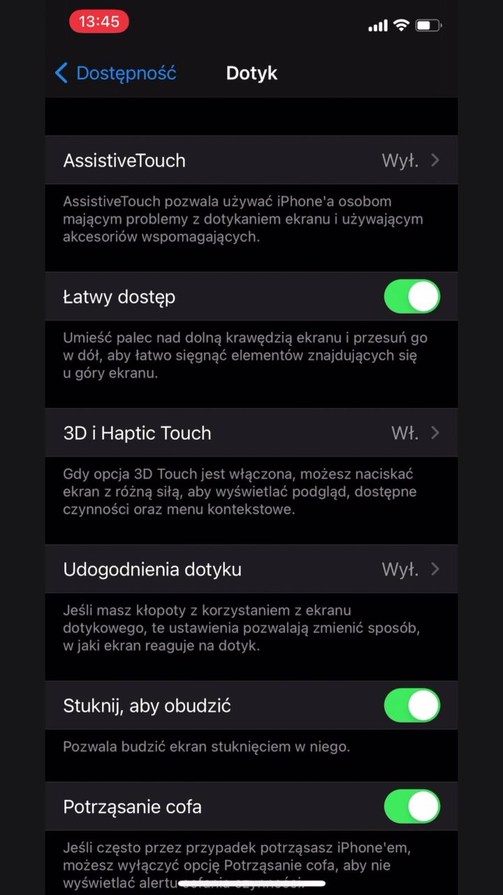 co to łatwy dostęp iphone