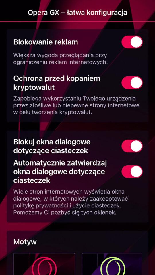 Opera GX na telefon