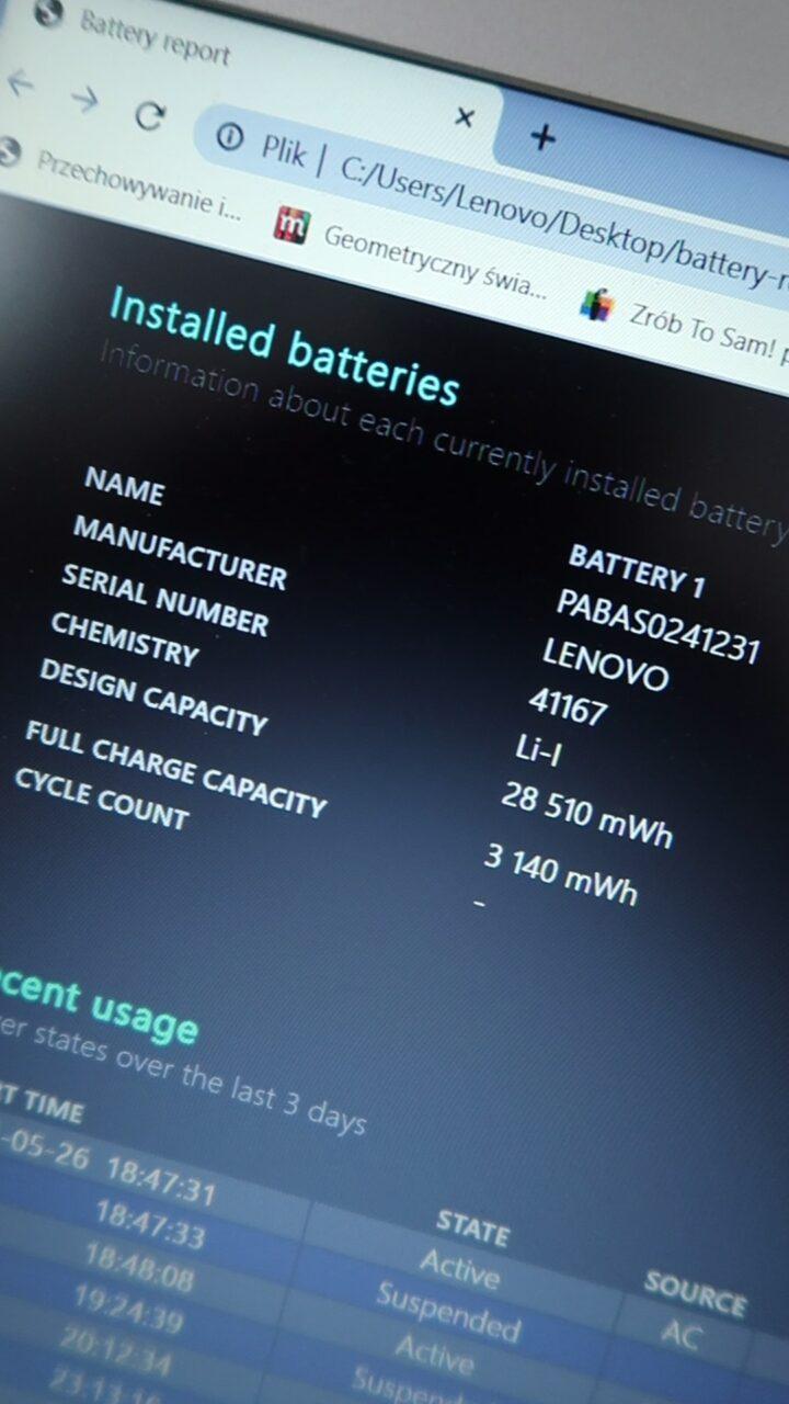 kondycja baterii w laptopie jak sprawdzić