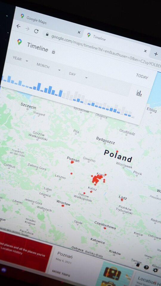 mapa z odwiedzonymi miejscami google maps