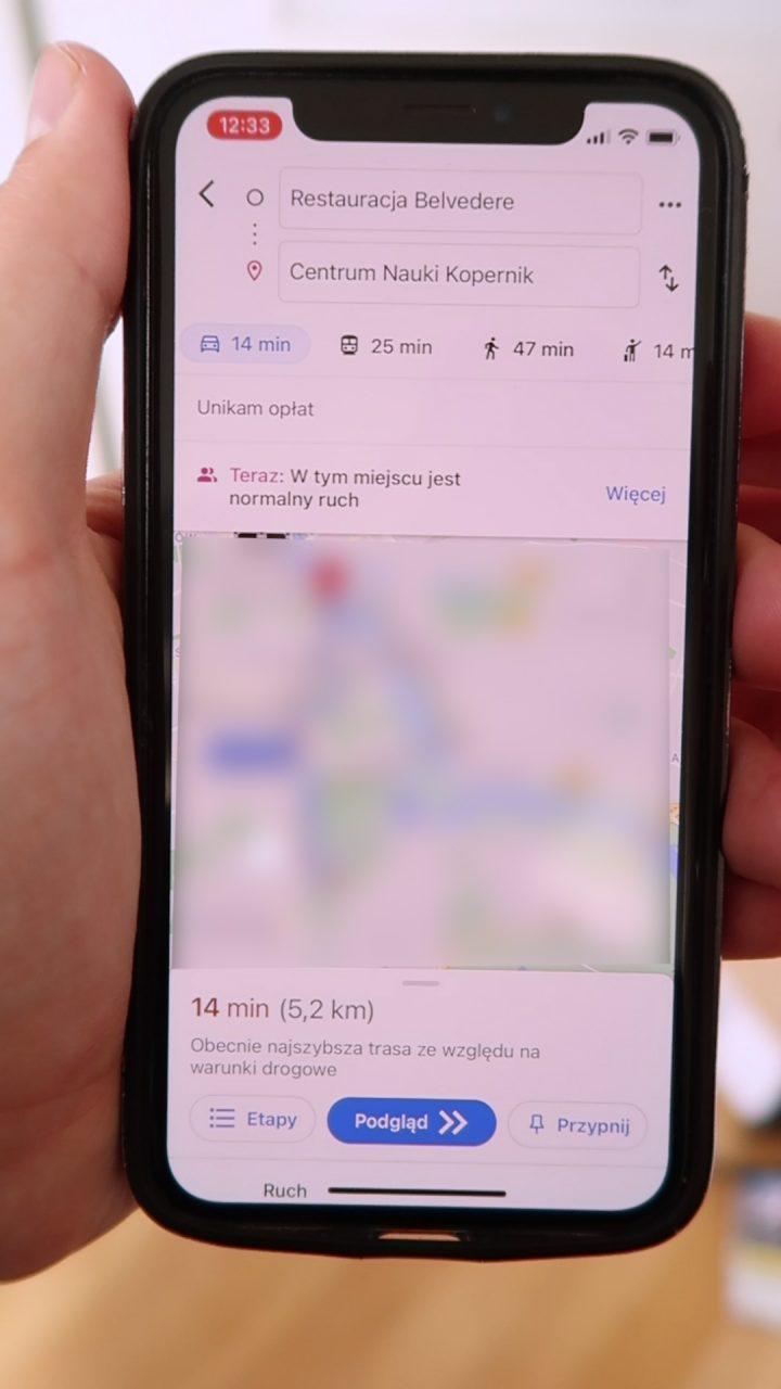 zatłoczenie komunikacji google maps