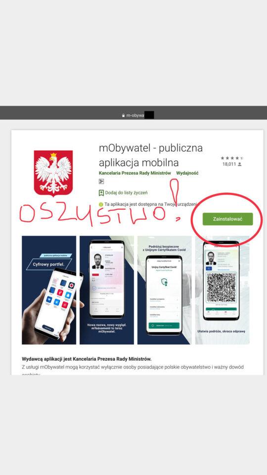 mobywatel fake aplikacja
